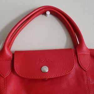 Longchamp Med. Red Leather Le Pliage Bag P…